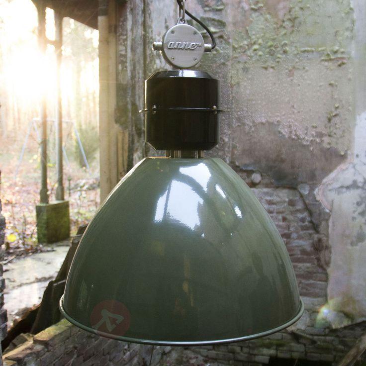 Oliwkowa lampa wisząca Frisk w industrialnym stylu 8508388