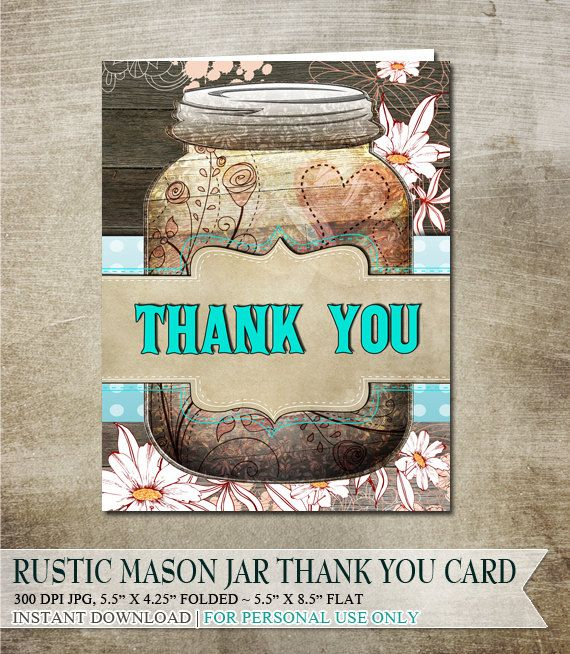 Rustic mason jar thank you card digital download pdf for Masonic thank you cards