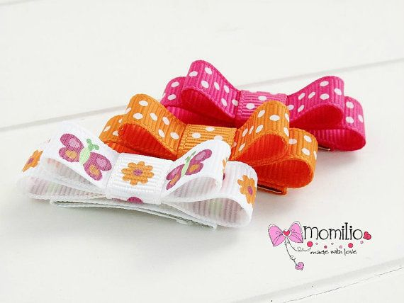 Snap clip for baby mini bows set of 3 by Momilio on Etsy