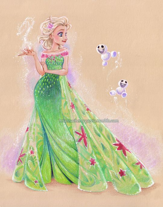 briannacherrygarcia:  An Elsa piece I did for WonderCon. Prismacolor pencil and gouache on tan paper.