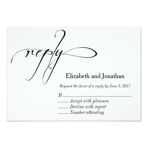 Formal Wedding Invitation RSVP Black and White Calligraphy Wedding Reply Card