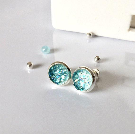 Aqua Druzy Earrings Aquamarine Earrings by AprilHyltonDesigns