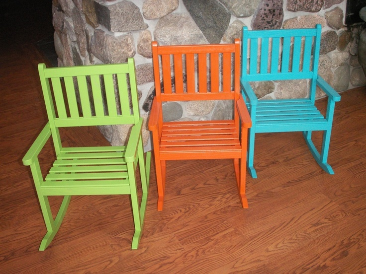 Childs solid red oak rocking chair- red  Red oak, Rocking chairs and ...