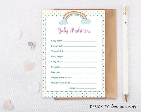 Rainbow Baby Predictions , Rainbow Baby Shower Games , Baby Predictions Card , Printable , Instant Download YOU WILL RECEIVE - Single card on page - Ideal for print shops or online printers ( 5 x 7 - JPG file). - 2 cards on page - Ideal for home printers ( 8.5 x 11 letter size - PDF