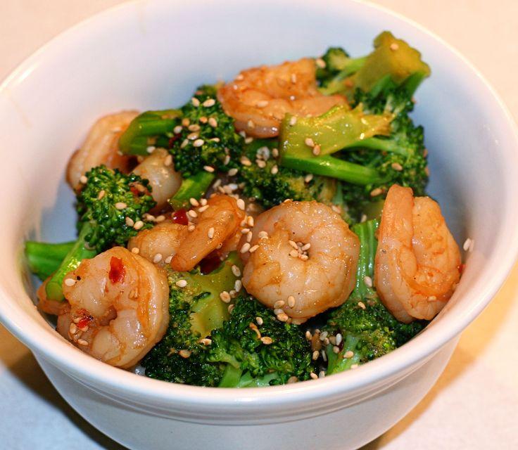 sesame shrimp and broccoli...quick and easy!