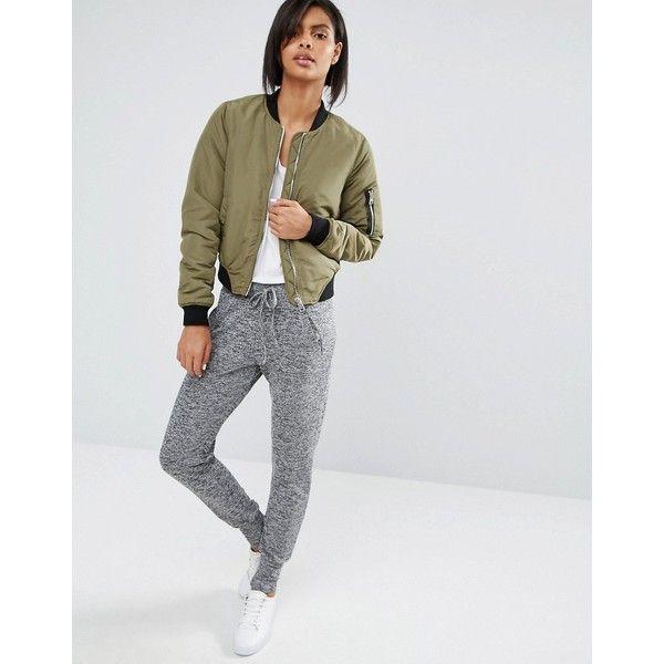 Vero Moda Grey Marl Jogger ($31) ❤ liked on Polyvore featuring activewear, activewear pants, grey, jogger sweatpants, fitted sweatpants, marled sweatpants, cuffed sweatpants and sweat pants
