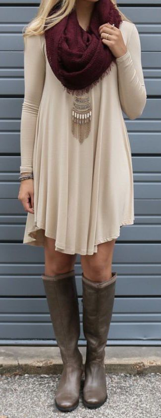Cream colored dress with rain boots and burgundy scarf <3
