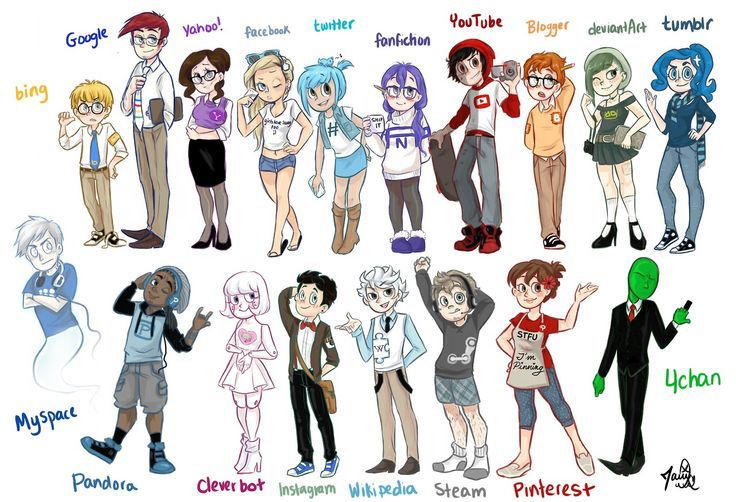 This is a human social media rp thing! It's basically if websites/search engines were human/alien.. Anyway! There are female and male versions of each and ask to be one that isn't listed above! All are open except: Fem Tumblr, Fem YouTube, Fem Fanfiction, Male Spotify, Male Google, Fem Twitter, Wattpad Fem, Snapchat Male, Male Wikepedia, Fem Yahoo, Fem Wattpad, Fem Pinterest,