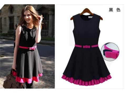 HQ 3324 Black-Rose Dress w/BELT. Fabric cascade (not elastic) M Bust 88 Shoulder 40 Waist 80 Length 86 with Belt.