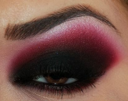 Heavy smokey black and cranberry eye make up #eyes #makeup #eyeshadow by Stacey R