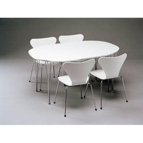 Superellips bord med iläggsskivor, vit laminat/aluminiumkant från Fritz Hansen – Köp online på Rum21