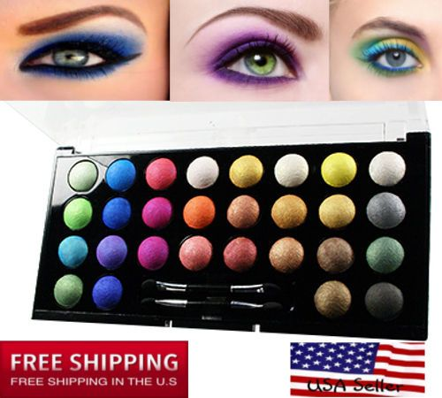 eye shadow cosmetic makeup 28 color high shimmer eyeshadow palette travel kit #kleancolor