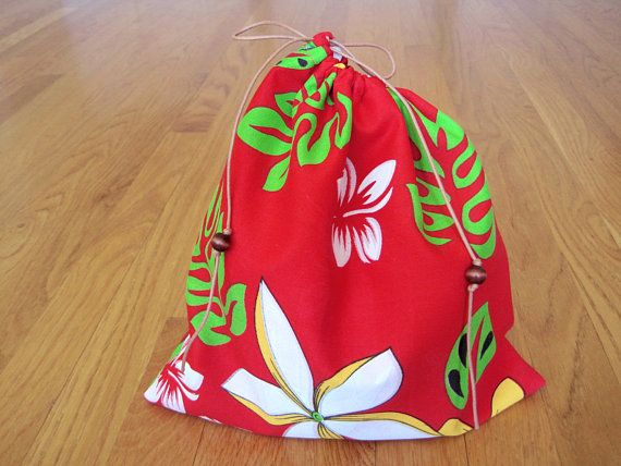 SALE! Hawaiian Drawstring Bag 10x10 RED White Gold Plumerias Hibiscus Flowers Lime Green Monsteras Tropical Beach Coffee Candy Candle pouch ~ Available on www.MaliakeiBags.com
