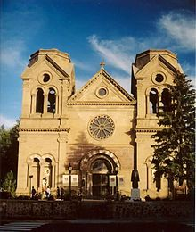Downtown Santa Fe, NM - Influenced by the French-born Archbishop Lamy and in dramatic contrast to the surrounding adobe structures, Saint Francis Cathedral was designed in the Romanesque Revival style.