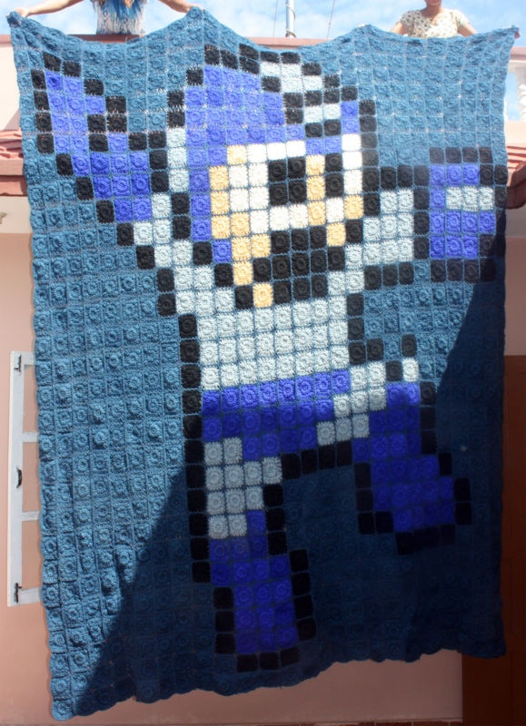 Knit BLANKET throw Mega-Man NES nintendo classic bed co...