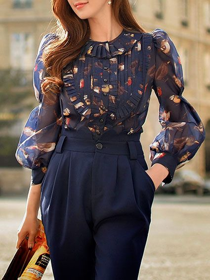 Floral-print Pleated Blouse