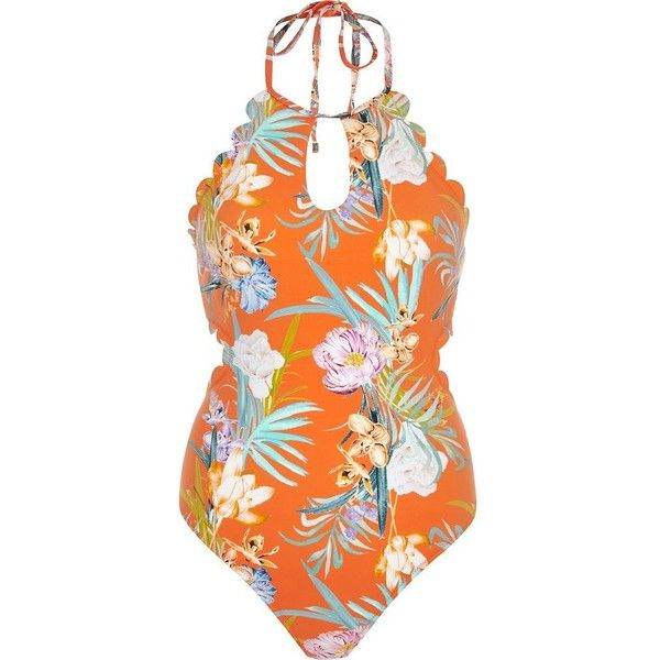 River Island Orange floral scallop halter neck swimsuit ($70) ❤ liked on Polyvore featuring swimwear, one-piece swimsuits, orange, swimsuits, swimwear / beachwear, women, halter swimsuit, floral one piece swimsuit, orange one piece swimsuit and halter top