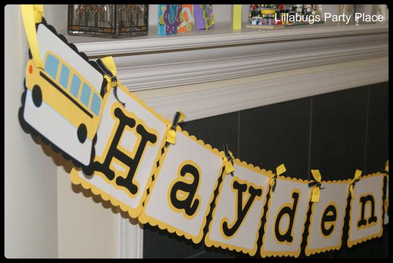 School Bus Personalized Banner, School Party, Yellow School Bus, Wheels On the Bus on Etsy, $19.99