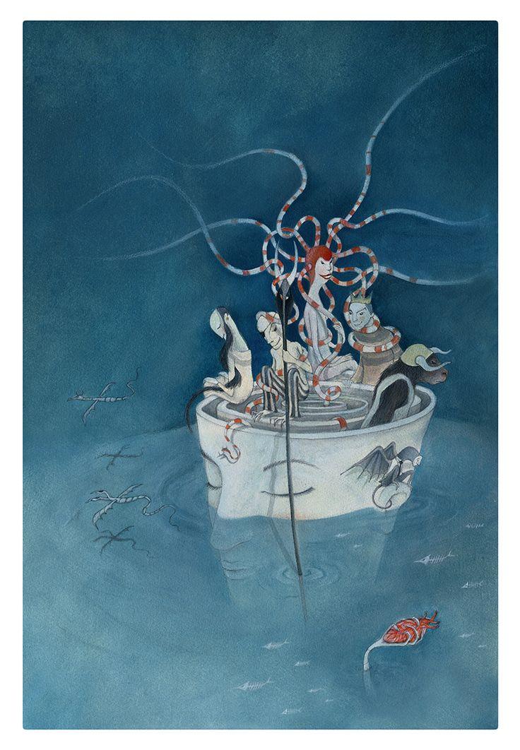 I.N.F.E.R.N.O illustrazione per manifesto spettacolo teatrale olio e pastelli su carta