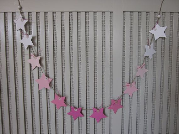 On sale : Paper star garland Ombre pink on natural rope --- Wedding banner, nursery bunting, paper garland or a sweet table decor