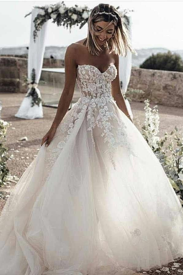 A-line Tulle Skirt Floral Lace Sweetheart Wedding Dresses Backless