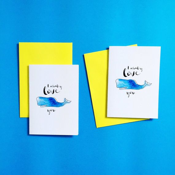 I Whaley Love You Greeting Card by CookieandCash on Etsy