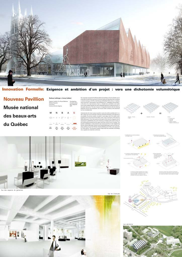 M2DS architects | BLOG: Concurso Museo Nacional de Bellas Artes - Québec paneel presentatie layout render