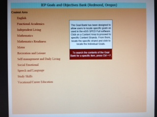 IEP Goals and Objectives Bank-The Goal Bank has been designed to allow users to locate specific goals. http://www.bridges4kids.org/IEP/iep.goal.bank.pdf Pinned by SOS Inc. Resources.  Follow all our boards at http://pinterest.com/sostherapy  for therapy resources.