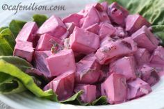 Swedish red beet salad. This is an amazing dish, in Sweden I ate this everyday for a year, well, almost. Its fantastic with meat also. I had it with swedish meatballs on an open face baquette.
