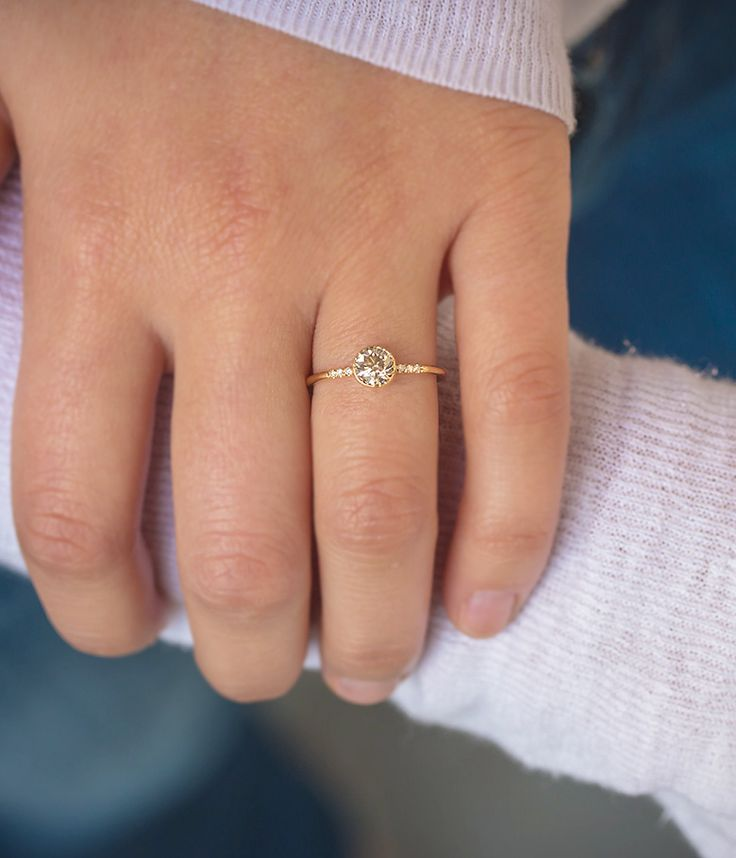 Champagne Diamond Ring with Pave - Audry Rose