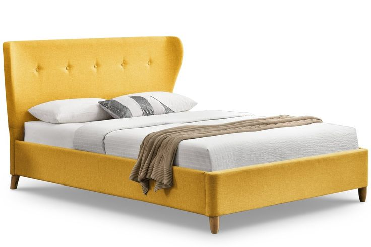 KENSINGTON YELLOW FABRIC WINGED DOUBLE BED