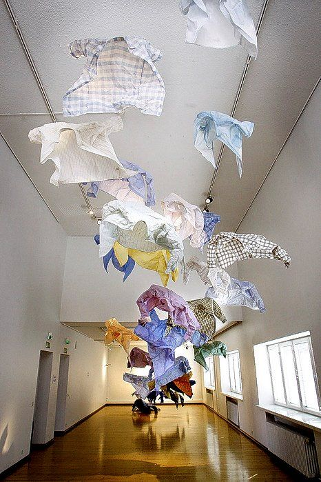 Kaarina Kaikkonen uses objects from every day life. These are shirts.