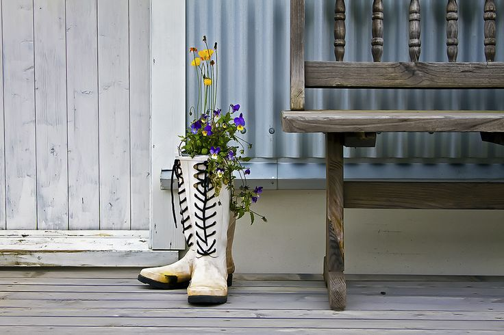 https://flic.kr/p/8LjWWo | These boots were made for... | ...putting flowers in! A nice detail that I saw in the lovely small town of Seyðisfjörður, Iceland.
