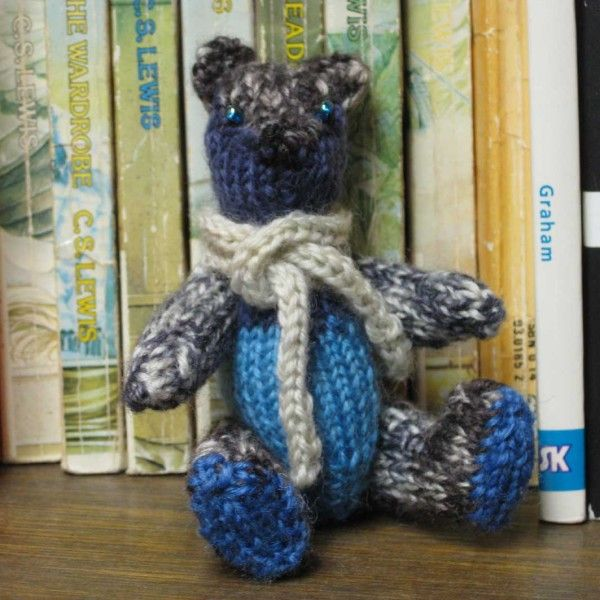 Gregory from the Yarn Stash Bears! He's a fully-jointed, miniature, collectible bear handmade from sock yarn.