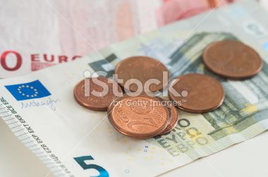 Two Cents Euro on 5 Euro Banknotes Royalty Free Stock Photo