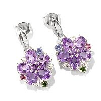117-171 - NYC II Multi-Gemstone Flower Drop Earrings