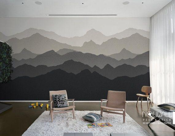 Kleurovergang berglandschap schil en stok behang door NouWall
