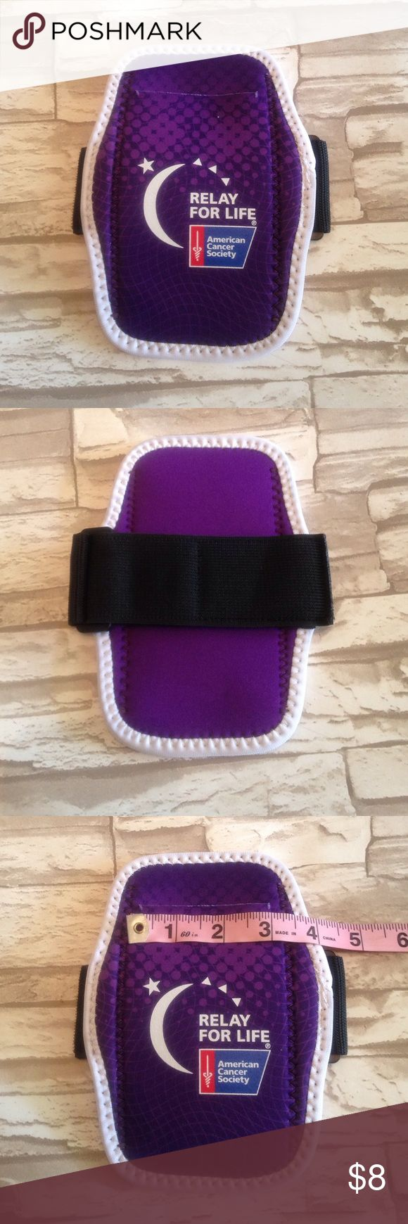 """💜Relay for Life Cell Phone Arm Band Brand New neoprene cell phone arm band from Relay for Life! Wear your Relay Pride during your workout! Never used! Opening is 3"""" wide. My iPhone 5 fits with tons of room. ⭐️⭐️All profits will be donated to ACS!!⭐️⭐️ American Cancer Society Accessories Phone Cases"""