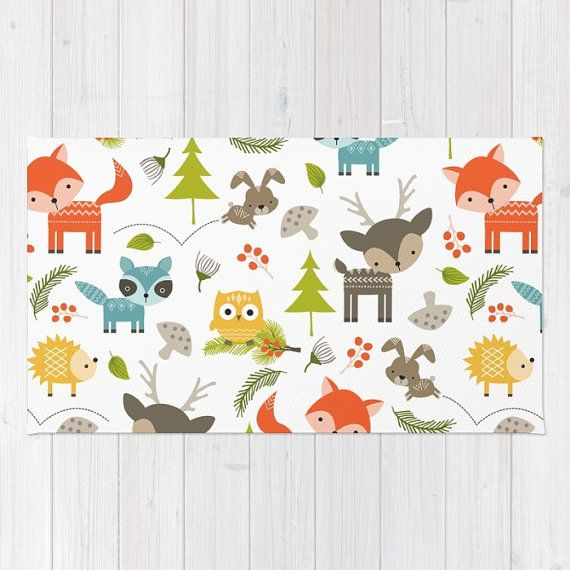 Kids Area Rug Woodland Animals Print Rug Kids Bath Mat 3x5 4x6 Area Rug  Nursery Rug