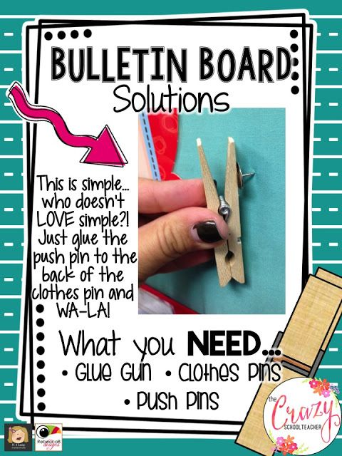 Such a great way to decorate the classroom, while staying organized --- clothespins on push pins!
