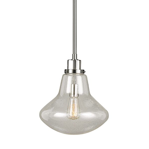 This large 1 light, brushed chrome with clear seeded glass pendant adds elegance to any home and is beautiful  to hang in your entrance hall, over your breakfast bar or kitchen island.  As part of the Dayton family, the styling is reflective of a more traditional era, with reflections of early American gas lights with a softer masculine look. The clear seeded glass completes the look to give you a fixture that works in modern industrial homes as well as a more traditional craftsman home.