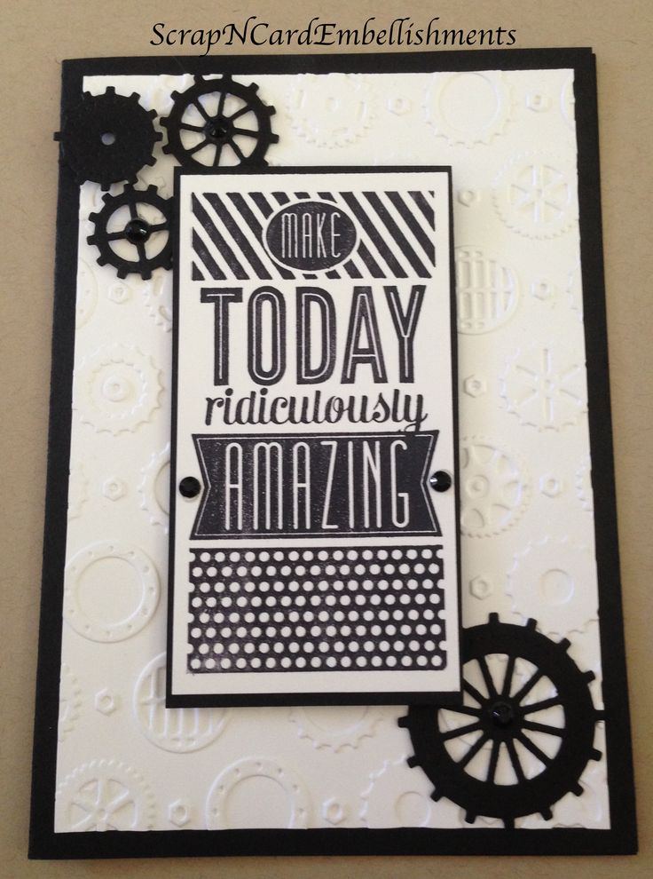 Masculine Card ~ S/U cardstock & 'Amazing Birthday' stamp set, Cherry Lyn Gears Die & Couture Creations Embossing Folder.