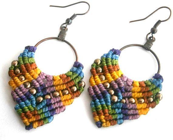 Macrame earrings/Hoop earrings/Macrame por Ancientmacrame en Etsy
