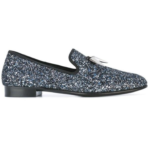 Giuseppe Zanotti Design 'Spacey' slippers ($593) ❤ liked on Polyvore featuring men's fashion, men's shoes, men's slippers, grey, mens glitter shoes, mens metallic shoes, mens leather shoes, mens grey shoes and mens gray dress shoes