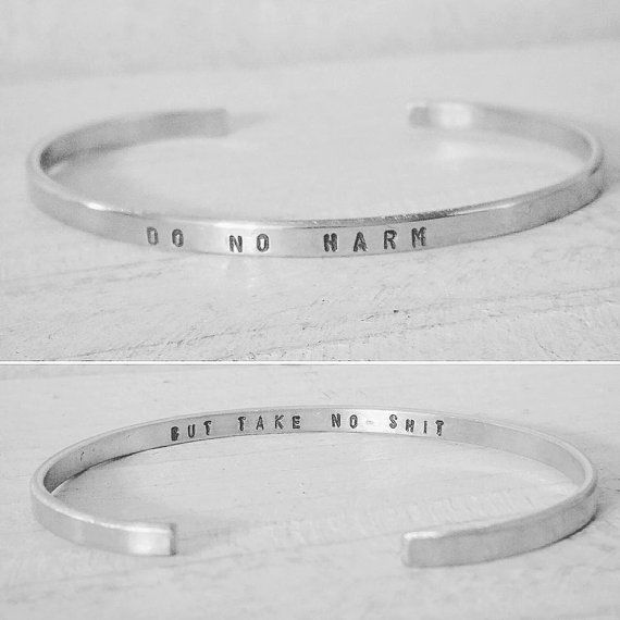 Do No Harm But Take No Shit - Super Skinny Engraved Silver Cuff Bracelet - Personalized Cuff Bracelet with Custom Stamped Brass Gold