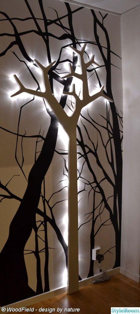 lampa,belysning,ljus,ljusslinga,träd,vit,vitt,svart,tapet