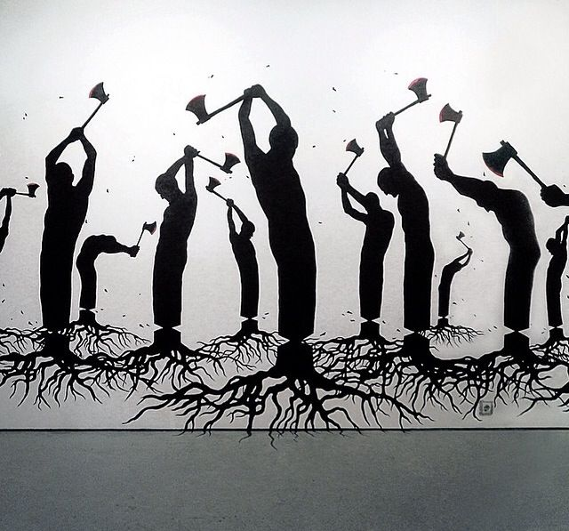 'Free Yourself', by Artist Pejac, pop art, black and white art.
