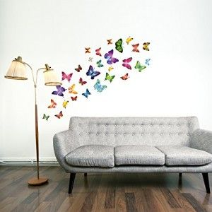 Adesivi murali farfalla, 21 singole farfalle vivacemente colorato per la camera dei bambini o stanza dei bambini. Foglio di adesivi da parete da 330 mm – x 600 mm con 21 meravigliosi adesivi