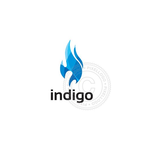 Indigo flame Logo - blue transparent fire   Pixellogo