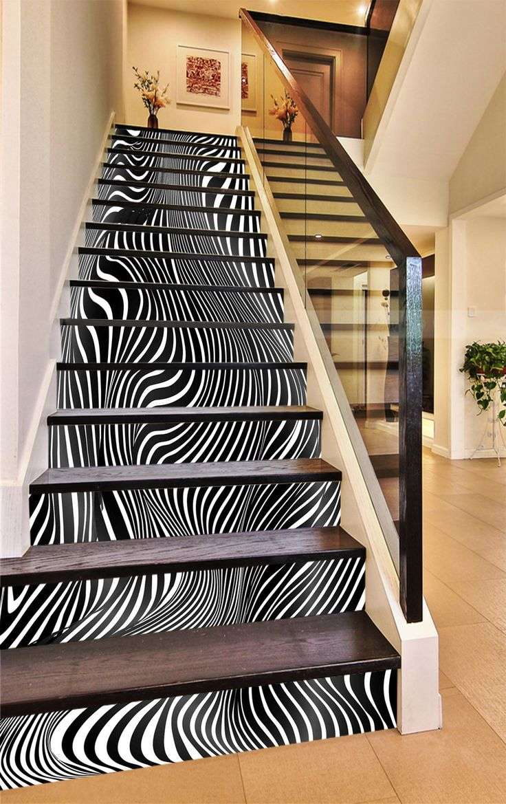 3D Fluctuating Stripes 1301 Stair Risers AJ Wallpaper